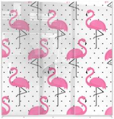 Panel szklany do szafy przesuwnej - Flamingo seamless pattern on polka dots background. Flamingo vector background design for fabric and decor.