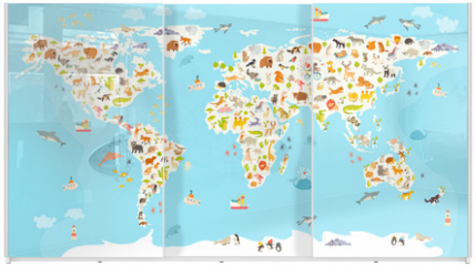 Panel szklany do szafy przesuwnej - World mammal map. Beautiful cheerful colorful vector illustration for children and kids. Preschool, baby, continents, oceans, drawn, Earth