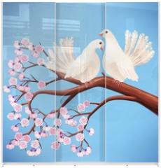 Panel szklany do szafy przesuwnej - Two white doves on the branch