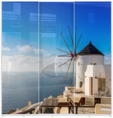 Panel szklany do szafy przesuwnej - Moulin à Oia sur l'île de Santorin, Grèce