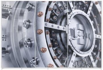 Panel szklany do szafy przesuwnej - Vault bank safe open door mechanism closeup 3d