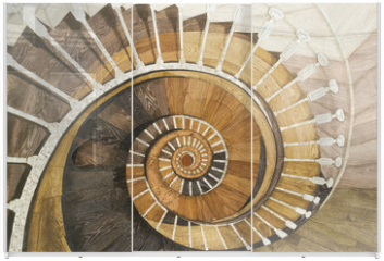 Panel szklany do szafy przesuwnej - Abstract spiral staircase of wood texture