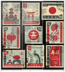 Panel szklany do szafy przesuwnej - set of postage stamps on the theme of Japanese culture. Hieroglyph Japan Post, Sushi, Tea