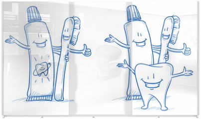 Panel szklany do szafy przesuwnej - Cute happy cartoon toothbrush and toothpaste with and without happy tooth. Hand drawn line art cartoon vector illustration.