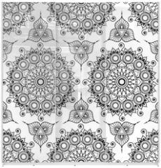 Panel szklany do szafy przesuwnej - Background with black and white mehndi henna seamless lace buta decoration items on white background in Indian style.