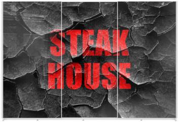 Panel szklany do szafy przesuwnej - Grunge cracked Delicious steak sign