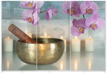 Panel szklany do szafy przesuwnej - Klangschale mit Orchideenblüten und Kerzen