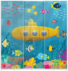 Panel szklany do szafy przesuwnej - Submarine Background / Cartoon yellow submarine underwater.