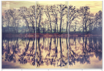 Panel szklany do szafy przesuwnej - Vintage toned tree silhouettes reflected in a lake.