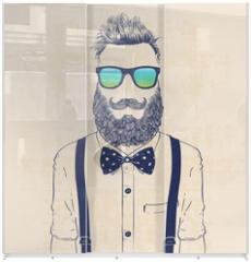 Panel szklany do szafy przesuwnej - gentleman hipster