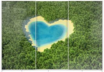 Panel szklany do szafy przesuwnej - Heart-shaped pond in a tropical forest
