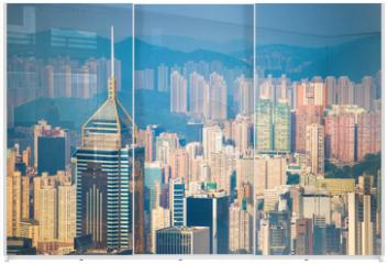 Panel szklany do szafy przesuwnej - Skyscraper view from the Peak Tower, landmark of Hong Kong