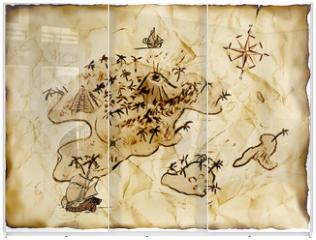 Panel szklany do szafy przesuwnej - Schatzkarte, Illustration