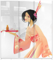 Panel szklany do szafy przesuwnej - pretty geisha