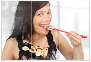Panel szklany do szafy przesuwnej - Sushi woman