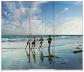 Panel szklany do szafy przesuwnej - jogging along the surf