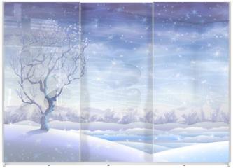 Panel szklany do szafy przesuwnej - Snowy rolling winter landscape and a small tree