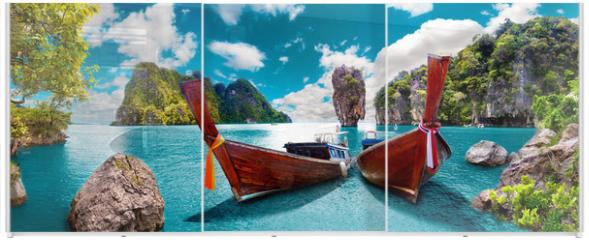 Panel szklany do szafy przesuwnej - Paisaje pintoresco de Tailandia. Playa e islas de Phuket. Viajes y aventuras por Asia