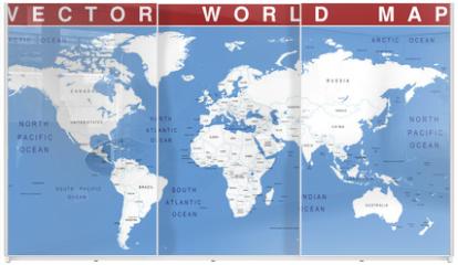 Panel szklany do szafy przesuwnej - VECTOR WORLD MAP