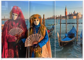 Panel szklany do szafy przesuwnej - Masks in Venice, Italy