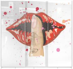Panel szklany do szafy przesuwnej - lips