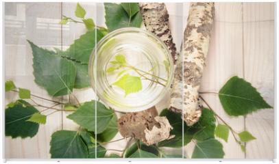 Panel szklany do szafy przesuwnej - A glass of birch juice on wooden background