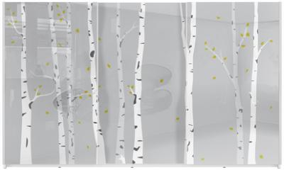 Panel szklany do szafy przesuwnej - Birch Tree Silhouette Background
