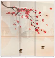 Panel szklany do szafy przesuwnej - oriental style painting, plum blossom in spring