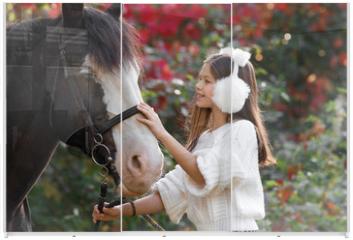 Panel szklany do szafy przesuwnej - Therapy with horses - hippo therapy