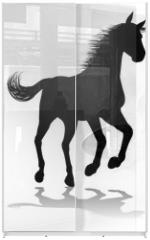 Panel szklany do szafy przesuwnej - Horse Silhouette Animal