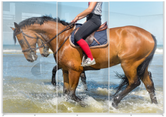 Panel szklany do szafy przesuwnej - les pieds dans l'eau