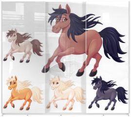 Panel szklany do szafy przesuwnej - Set of different cartoon horses
