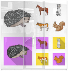 Panel szklany do szafy przesuwnej - Horse, cow, cat, squirrel and other kinds of animals.Animals set collection icons in cartoon,flat style vector symbol stock illustration web.