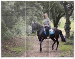 Panel szklany do szafy przesuwnej - woman rider and horse
