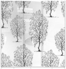 Panel szklany do szafy przesuwnej - Seamless background of sketches of birch trees