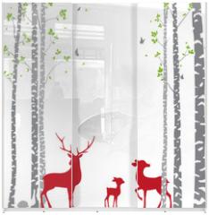 Panel szklany do szafy przesuwnej - Birch Tree with deer and birds Silhouette Background for wallpaper sticker