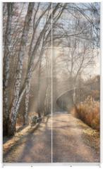 Panel szklany do szafy przesuwnej - Spaziergang im Spätherbst, erster Frost