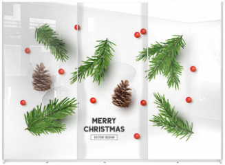 Panel szklany do szafy przesuwnej - Vector Christmas Natural Decoration Set