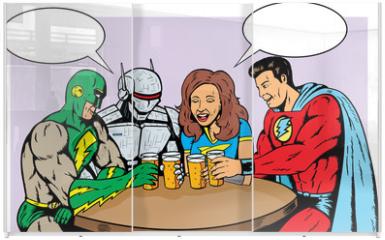 Panel szklany do szafy przesuwnej - Superheroes having beer, celebrating good times.