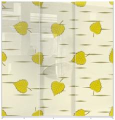Panel szklany do szafy przesuwnej - Seamless background with birch leaves.