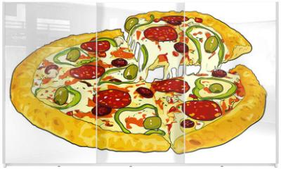 Panel szklany do szafy przesuwnej - pizza