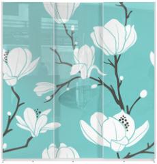 Panel szklany do szafy przesuwnej - blue magnolia pattern