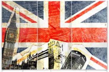 Panel szklany do szafy przesuwnej - drapeau anglais