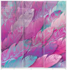 Panel szklany do szafy przesuwnej - Seamless background of iridescent pink feathers, close up