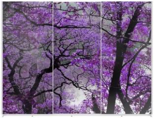 Panel szklany do szafy przesuwnej - purple spring