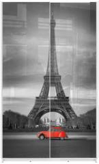 Panel szklany do szafy przesuwnej - Tour Eiffel et voiture rouge- Paris