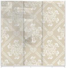 Panel szklany do szafy przesuwnej - Seamless White Floral Pattern