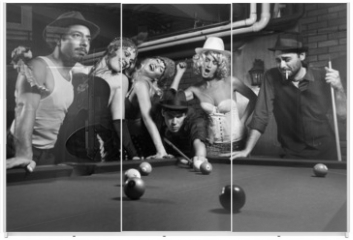 Panel szklany do szafy przesuwnej - retro group trying to distract man as he takes pool shot.