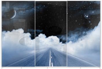 Panel szklany do szafy przesuwnej - Road to the Galaxy