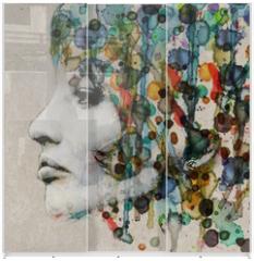 Panel szklany do szafy przesuwnej - Watercolor female profile